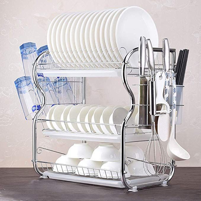 Dish Drying Rack One76 Deluxe Stainless Steel 3 Tier Draining