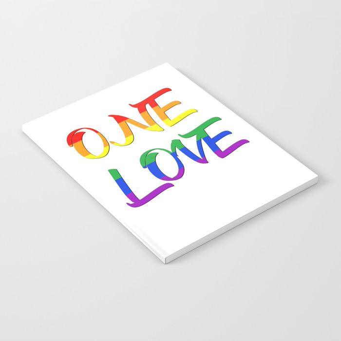 Buy One Love Notebook  by Scar Design. #typographic #onelove #lgbt #pride #couples #popular #valentine #romance #pop #rainbowflag #rainbow #flag #colorful #life #love #loveislove #gay #lesbian #trans #home #homedecor #pride #festiival #pride #cool #awesome #valentinesdaygifts #valnetinesday #family #onlineshopping #giftsforhim #giftsforher #design #tshirtfashion #39 #gaypride #lesbianpower #feminist #march  #gaydads #lesbianmoms #campus #college #school #highschool #notebook  #shopping