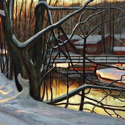 Victor Westerholm, (Finlandia, 1860-1919) Sole di metà inverno( s.d.)
