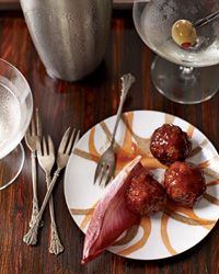 Cocktail Meatballs   According to Southern tradition, the hostess at a ladies' luncheon should serve little meatballs in a chafing dish or on a platter with toothpicks as a satisfying snack for any men in attendance.