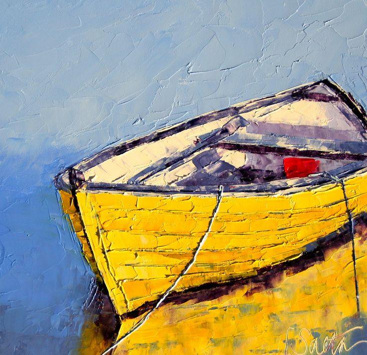 Artist Leslie Saeta knife oil painting boats Artists Helping Artists