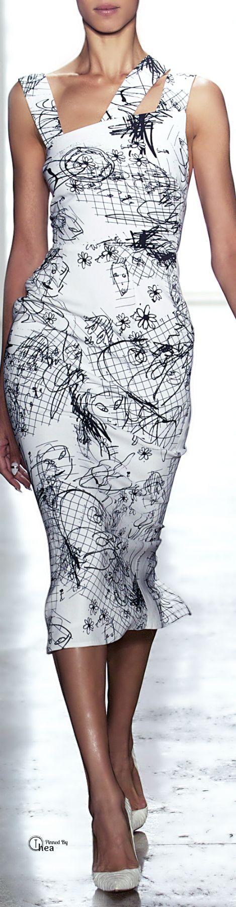 Cushnie et Ochs ● SS 2014, Printed Viscose Triple Strap Dress