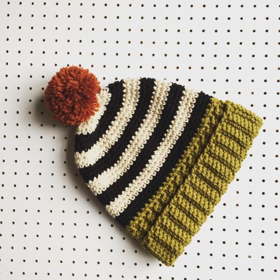 Bobble Hat Ski Hat in Lime  Black  Cream  Rust by TheManchesterBee