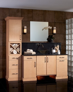 Vanity, Shenandoah Cabinetry Shown in Maple Wheat, Sydney door style