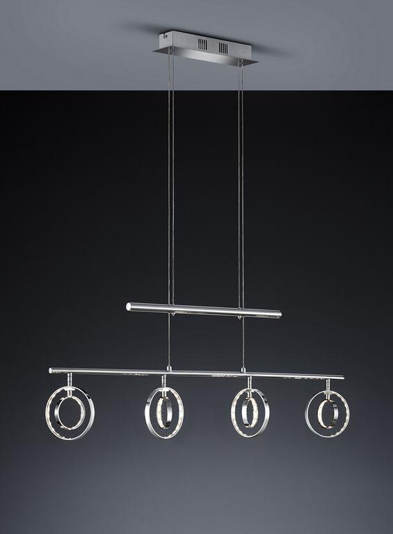 Prater riippuvalaisin LED 4x4 W    Lampun tyyppi: 4 × SMD 4 W  LED (sis.toimitukseen)  Jännite: 230V  Valoteho: 4 x 390 lumenia  Valon sävy: 3000 kelviniä (lämmin valkoinen)  Kotelointiluokka: IP20 (kuivaan tilaan)  Rungon materiaali: Metalli  Rungon väri: kromi  Korkeus: 98 - 173 cm (säädettävä)  Pituus: 94 cm  Takuu: 5 vuotta