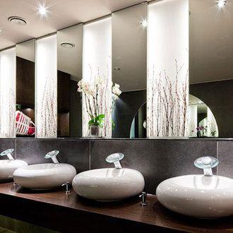Cafe Reichard   Designer Johannes Schmitz used Varia Thatch through this restroom design to create glowing wall features. 1000  ideas about Restroom Design on Pinterest   Design hotel
