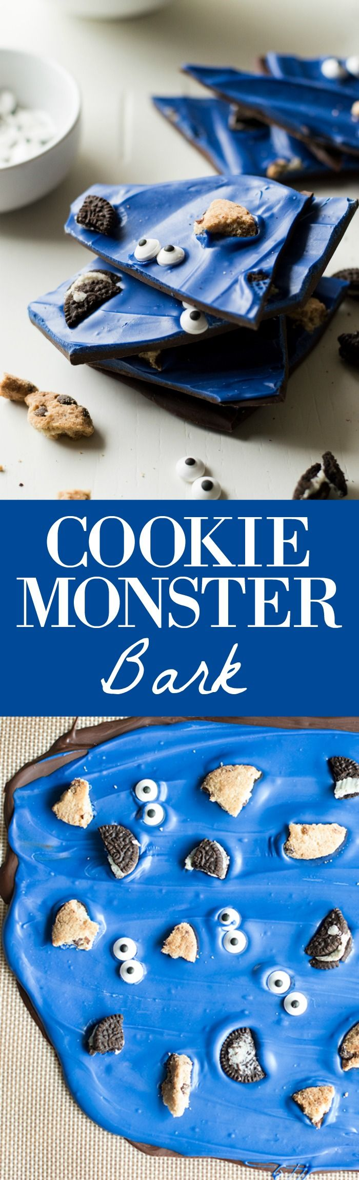 A super fun treat for all ages! Cookie Monster Bark! This easy to make bark is loaded with chunks of cookies and fun little candy eyes.