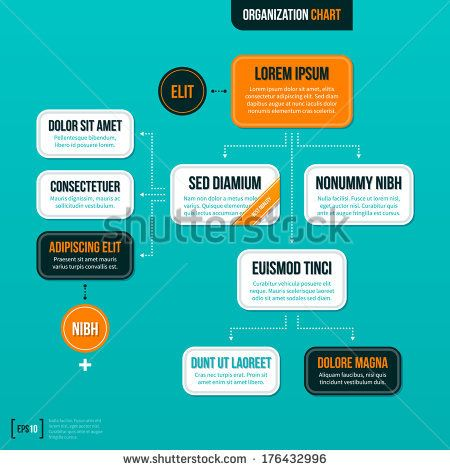 modern organizational chart on turquoise background