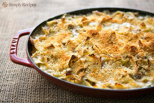Turkey Noodle Casserole ~ Turkey noodle casserole with egg noodles, leftover turkey, shallots, celery, and a white sauce with Gruyere, mustard, and tarragon. ~ SimplyRecipes.com