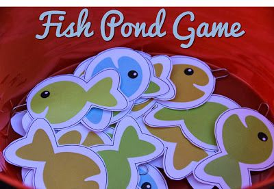 DIY FISH POND GAME with FREE fishy printables. Great for carnivals or birthday parties and so much fun for the kids! {BitznGiggles.com}