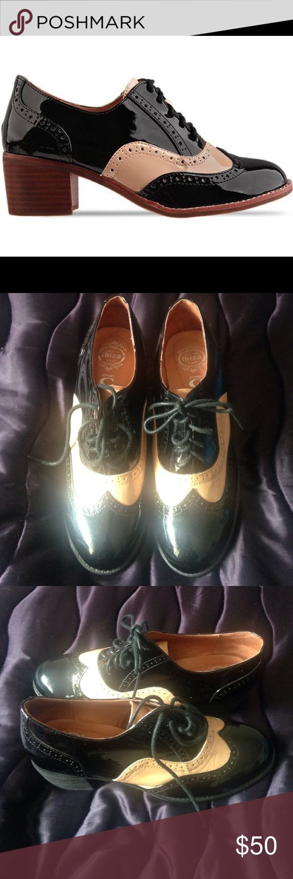 """Jeffery Campbell """" Williams"""" Leather made old school lace up oxford with black/ tan design, size 8.5, has been worn, cute shoe to pair with the perfect menswear or suit. Jeffrey Campbell Shoes"""