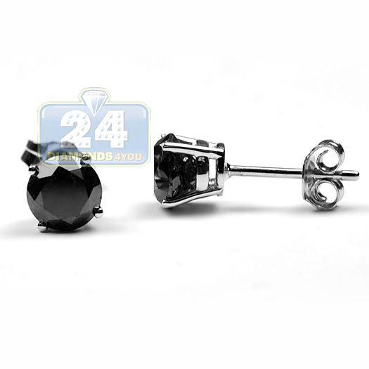 d96a47f7e Womens 2.50 Carat Round Cut Black Diamond Stud Earrings 925 Sterling Silver  Push Back Closure