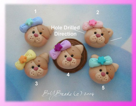 Cute Kitty wt Bow  Polymer Clay Charm Bead, Scrapbooking, Bow Center, Pendant, Cupcake topper, Magnet, Ring