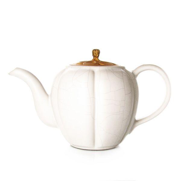 BRÛLE PARFUM - Théière en céramique  - émail ivoire craquelé - 5 tasses
