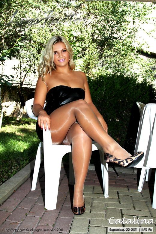 Catalina In In Black Leather Dress And Glossy Patyhose