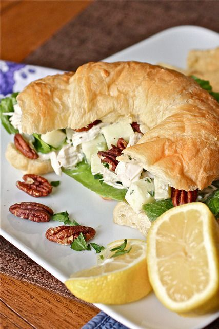 Apple Pecan Chicken Salad Total Time: 20 minutes Yield: 4 sandwiches Ingredients • 1 cup roughly chopped pecan halves • 2 whole boneless chicken breasts, cooked and shredded • 1 Granny Smith apple, cored, peeled, and diced • 2 stalks celery,...