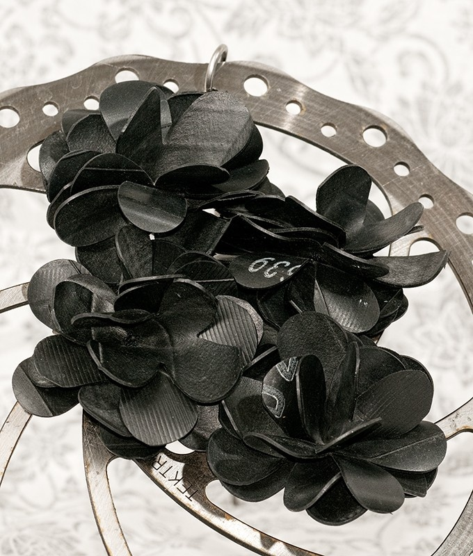 Reclaimed Bicycle Tube Flower Clips. $15.00, via Etsy.