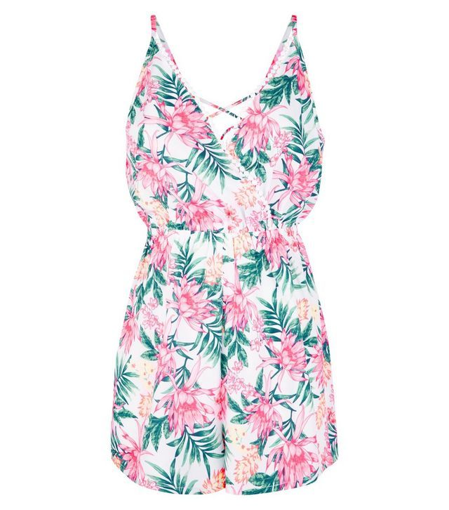 02dd60d4f8 White Floral Print Pom Pom Trim Beach Playsuit