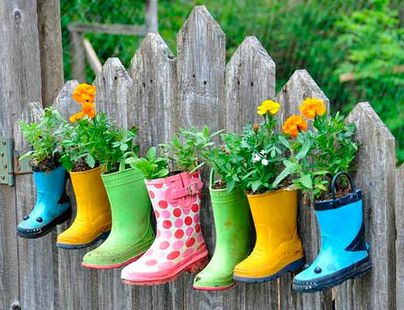 Rubber boots created into a garden for children.
