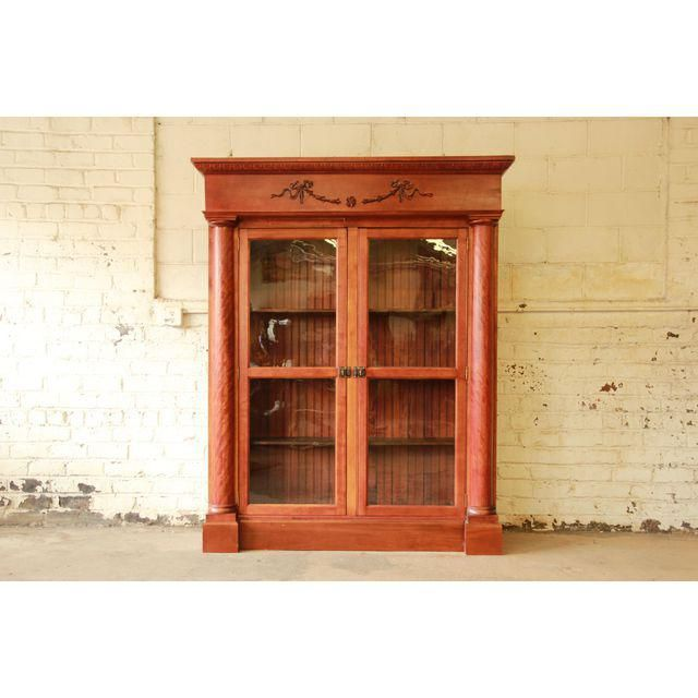 63.0ʺW × 18.0ʺD × 77.5ʺH Image of 19th Century French Empire Mahogany Bookcase