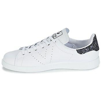 Baskets Victoria cuir blanc / paillettes noires