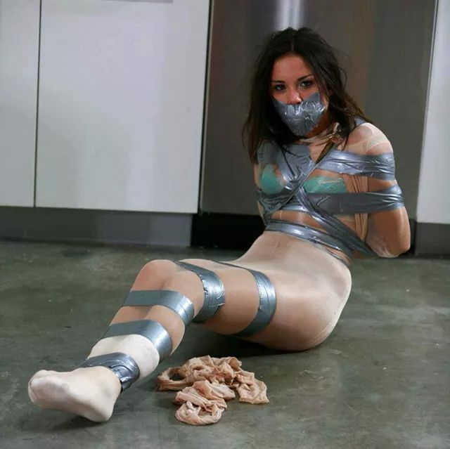 Femdom duct tape tied and gagged