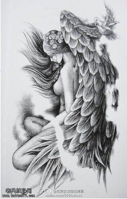 Nude angels tattoo design
