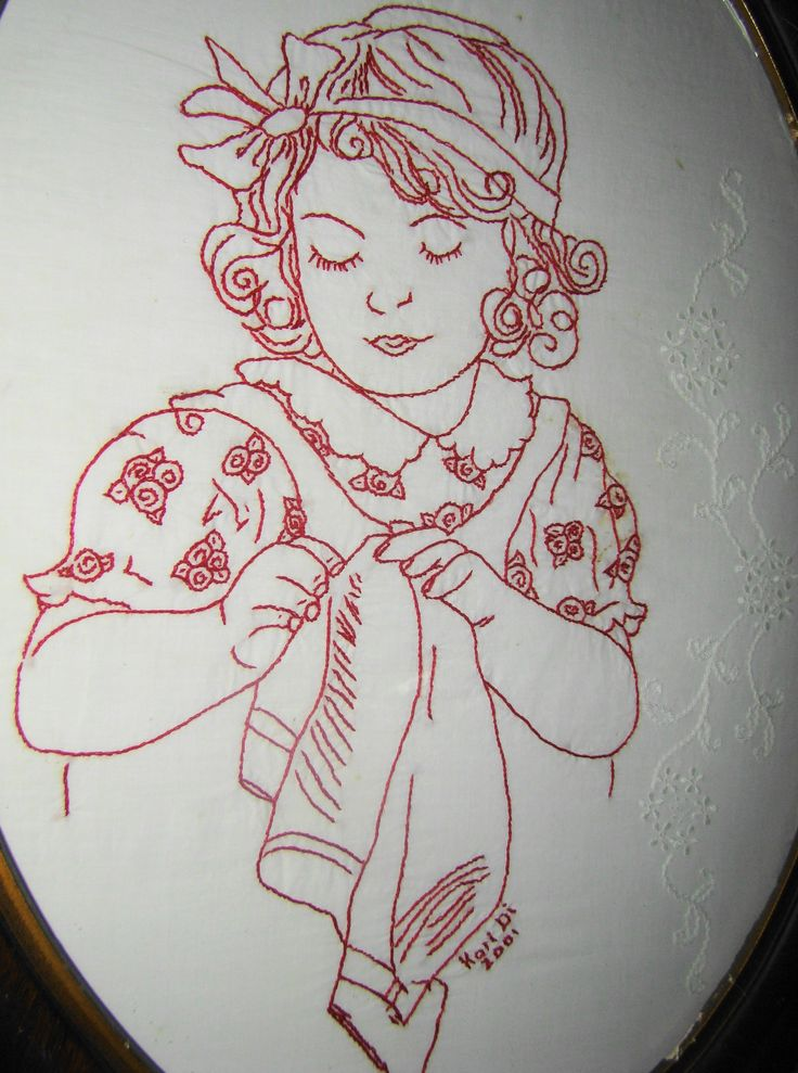 Vintage style red work.  tried to find original site (no longer up)