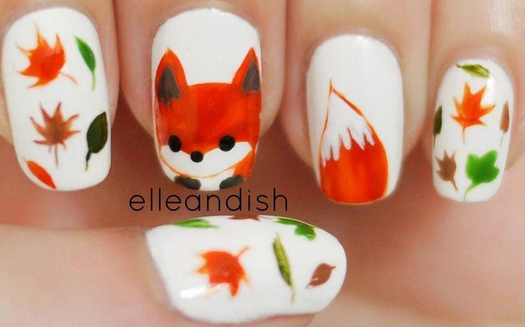 freehand fox nail art manicure