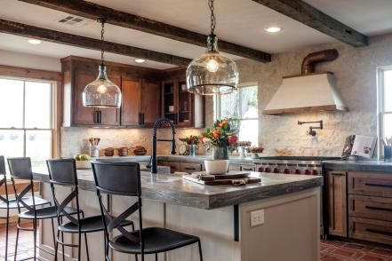 PawPaw's House | Fixer Upper Season 3 | Kitchen with copper accents and concrete countertops