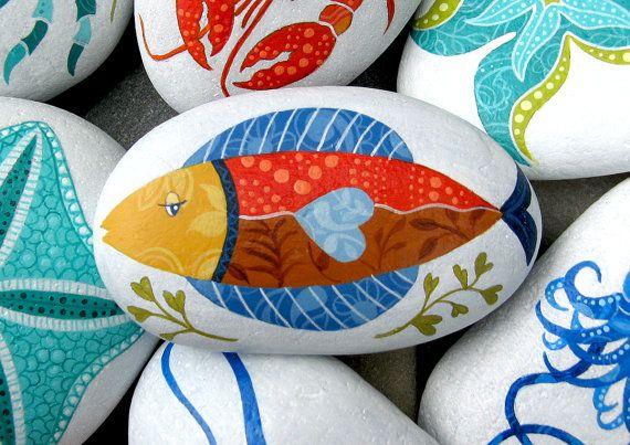 Piedras pintadas de Coastal colors Cape Cod (Kireei - Cosas bellas)