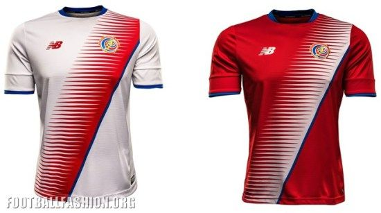 Costa Rica 2016 2017 New Balance Home and Away Soccer Jersey, Football Kit, Shirt, Camiseta de Futbol Rumbo Mundial, Equipacion Hexagonal, Piel