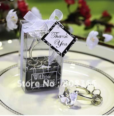 Free Shipping Wedding Favor Clear Crystal Engagement Ring Keychain Party Valentines Days Gifts 750