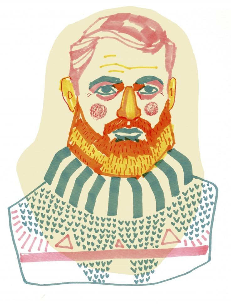 Ernest Hemingway Porträtt | Kristin Lidström character illustration