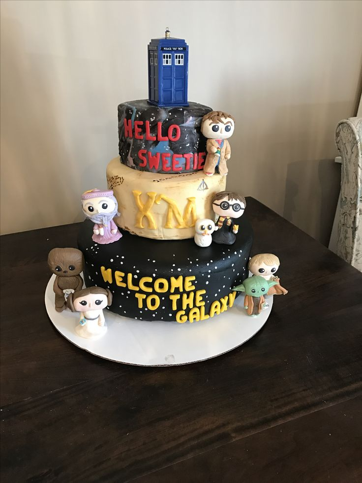 Doctor Who Harry Potter Star Wars Baby Shower Cake