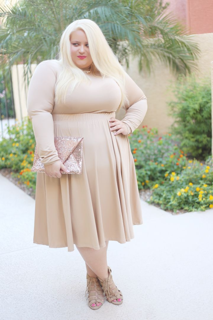 plus size nude dress