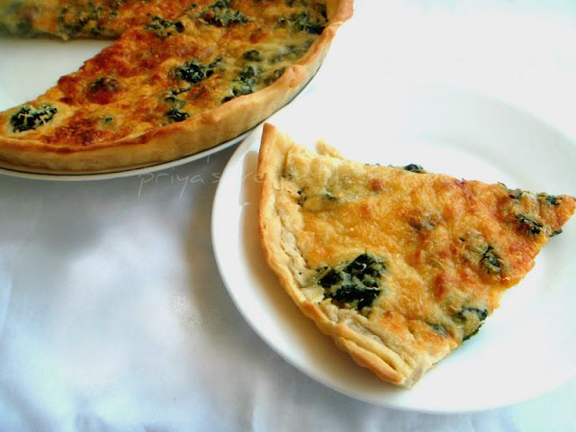 Eggless Spinach & Emmental Cheese Quiche