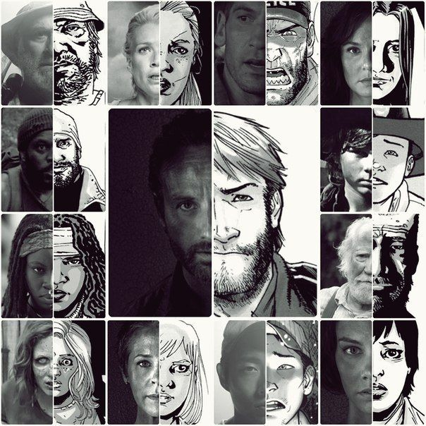 The walking dead https://www.facebook.com/ZombieCPC Cool TV show-comic comparison. See what I'm saying about Carol? Everyone else looks so similar.