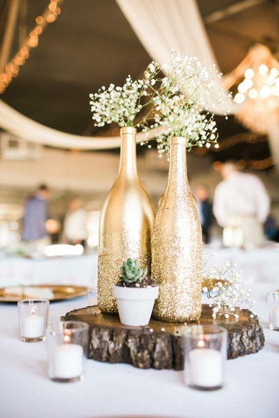 Centre de table bouteille en verre : Idée DIY mariage