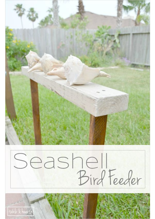 A gorgeously beachy bird feeder! She used some seashells and some wood to create this unique and beautiful feeder.