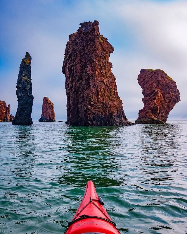 The Three Sisters rise out of the Bay of Fundy at high tide. ------------- One of the most impressive sights we saw during our 2 day kayaking trip on the Bay of Fundy was theses monoliths rising out of the sea. As we paddled in and around these giants you can't help but be impressed by the power and beauty of Mother Nature. Truly an experience you cannot miss when you visit Nova Scotia. --------------- #visitnovascotia #explorecanada