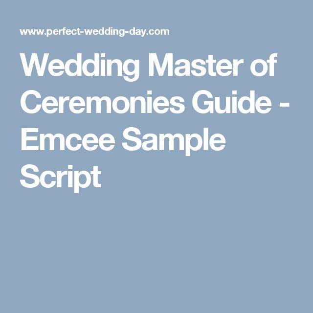 Wedding Master Of Ceremonies Guide Emcee Sample Script