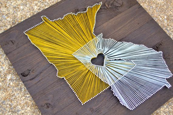 Two State String Art on 21x21 Stained Wood by theWoodPalette. Love this! Need Tennessee and mississippi!