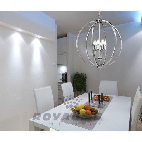 Suspendu chrome avec accent de cristal a l 39 int rieur for Luminaires suspendus salle manger
