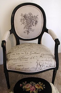 Like this, only use expensive decorator fabric for the seat and make your own design for the top part.