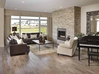 There is nothing quite like a STATEMENT wall surrounding your gas fireplace! This stone is neutral in colour, but packs a big design punch! In our Legacy model, which was the Cash & Cars Grand Prize Lottery Home in 2014! Kimberley Homes, Edmonton, AB