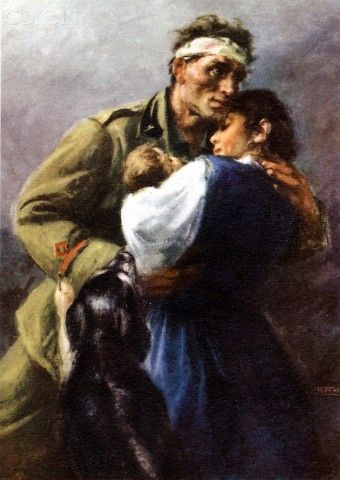 Italian propaganda postcard. A bandaged soldier embraces his wife, child and dog. Caption reads: 'The Italian people have created an empire with their blood. They will fertilize it with their work. They will defend it against anyone with their weapons. Will you be worthy of it?' - Mussolini.