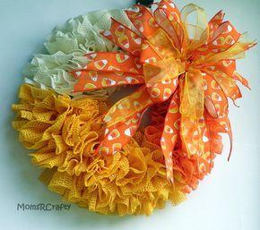 Candy Corn Grip Liner Wreath Halloween Ruffle by MomsRCrafty