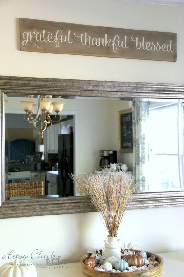 Grateful Thankful Blessed DIY Weathered Sign Corner Wall DecorEntryway DecorDining Room