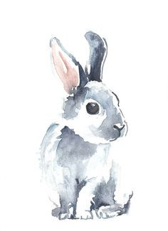 Moon Rabbit II by Denise Faulkner - A sweet bunny in gray and pink.